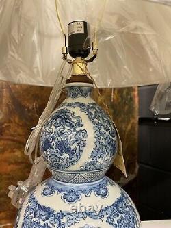 Ralph Lauren Table Lamp Porcelain Zen Koi Shape Pair Rare Hand Painted Blue