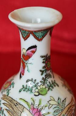 Rare Antique Chinese Porcelain Vase Hand Painted Famille Rose Tongzhi Hallmark