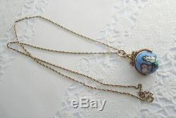 Rare Antique Victorian Gold Filled Hand Painted World Map Globe Pendant Necklace