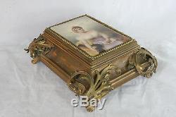Rare Bronze Art Nouveau Jewelry Box Hand Painted Portrait Porcelain Plaque LID