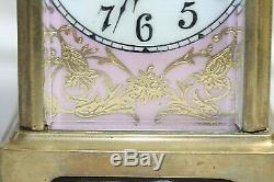 Rare French Carriage Clock Antique Serves Pink Porcelain hand painted Panels