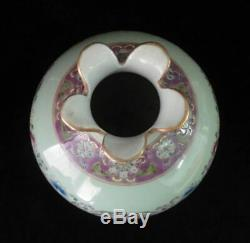 Rare Old Chinese Hand Painting Flower Porcelain Vase QianLong Period Marks