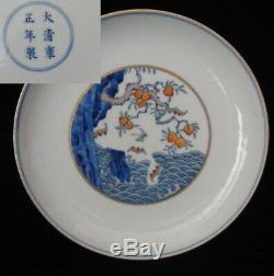 Rare Old Chinese Hand Painting Peaches & Bats Porcelain Plate Marked YongZheng