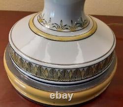 Rare Original Large Pair Hand Painted Marbro Mid Century Modern Porcelain Lamps