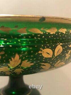 Rare PAIR MOSER Green GLASS and PORCELAIN PORTRAIT Pedestal GOLD GILT COMPOTES