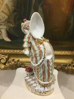 Rare Russian Moscow Gardner Hand Painted & Gilt Porcelain Figurine, H-20cm