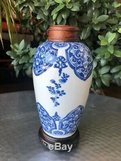 Relist Chinese Kangxi Period Blue & White Floral Ovoid Jar with wooden lid