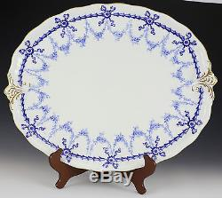 Royal Crown Derby Porcelain Tray 18 c1910 Hand Painted Gilt Blue Floral Ribbon