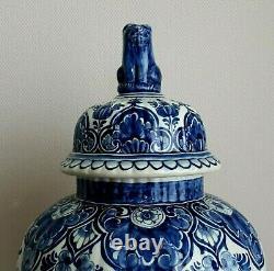 Royal Delft XL Lidded Vase Ginger Jar 18.5 Inches Hand Painted