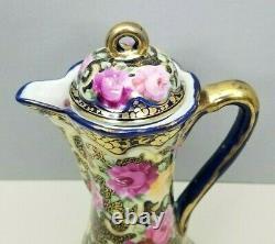 Royal Kinran Hot Chocolate Pot Nippon Pink Yellow Roses Cobalt Blue Antique