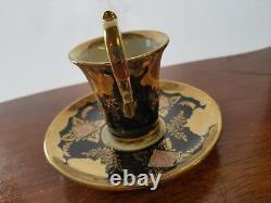 Royal Vienna Cup BEEHIVE MARK porcelain tea coffee Black saucer hand painted