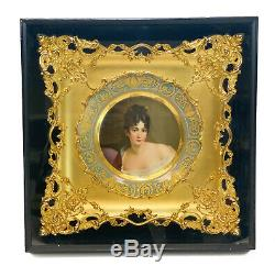 Royal Vienna Hand Painted Porcelain Cabinet Plate of a Beauty, 19th C. Framed
