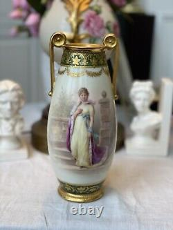 Royal Vienna Hand-Painted Porcelain Portrait Vase Very Beautiful