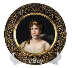 Royal Vienna Porcelain Hand Painted Cabinet Plate Queen Louise, 19th C Signed