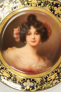 Royal Vienna Style Porcelain Graziella Portrait Cabinet Plate 100% Hand Painted