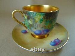 Royal Worcester Coffee Can & Saucer Hand Painted Fruit By C. Bowen
