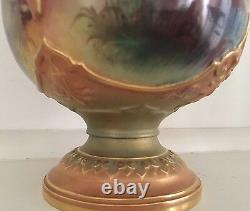 Royal Worcester Hand Painted Vase of Wading Stork Signed Lewis