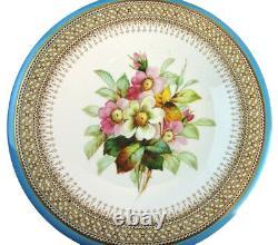 Royal Worcester Porcelain Hand-Painted Botanical 12 Piece Dessert Service 1880