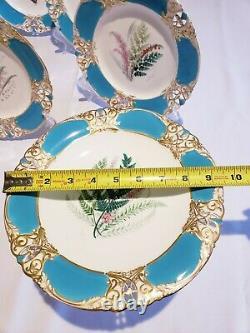 Royal Worcester Porcelain Hand-Painted Botanical 8 Piece Dessert Service 1880