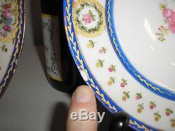 SIX antique SEVRES PLATES, handpainted flowers, gilt, royal blue, bleu de roi