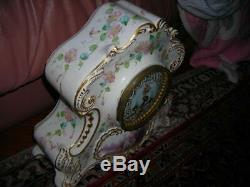Sale! Hand Painted Antique Mac Donald Baltimore French Porcelain Clock 12x11x6