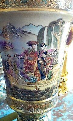 Satsuma Asian Hand-Painted Porcelain Footed Pedestal Urn Vase w Gold Handles/Lid