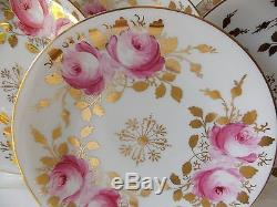 Set Of Six Beautiful Hand Painted Pink Roses White Porcelain Dessert Plates