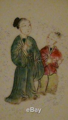 Set Of2 Antique 18c Chinese Porcelain Hand Painted Mounted Plaques 5 In Each