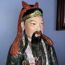 Set of 3 Chinese Republic Famille Rose Porcelain Statues Sanxing Fu Lu Shou