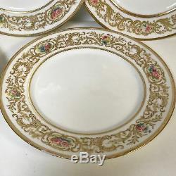 Set of 6 G. Ahrenfeldt Limoges porcelain Dinner Plates With Gold Flower Hand Paint