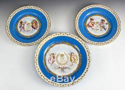 Sevres Chateau Des Tuileries Louis Philippe Cherubs Hand Painted Cabinet Plates