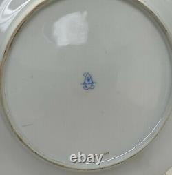 Sevres France Hand Painted Porcelain Dessert Plates, 1819, Empire Design