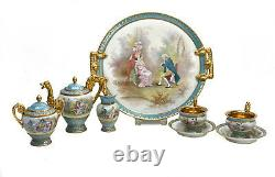 Sevres France Hand Painted Porcelain Tea or Coffee Tete-a-Tete Service c. 1900