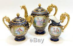 Sevres France Hand Painted Porcelain Tete-a-Tete Tea Service, circa 1900