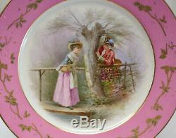 Sevres France Porcelain Hand Painted Portrait Plate, circa 1900