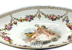 Sevres France Porcelain Hand Painted Sauce Boat, circa 1900. Cherubs