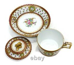 Sevres France Porcelain Lidded Cup and Saucer. Hand Painted Flowers