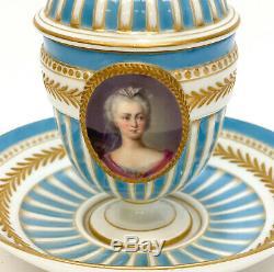 Sevres Hand Painted Porcelain Lidded Cup & Saucer, 19th C Madame Sophie