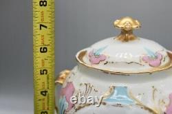 Sevres Porcelain France Handpainted lidded Jar with Bows and Basket Cherubs