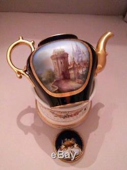 Sevres Porcelain Hand Painted Cobalt Teapot