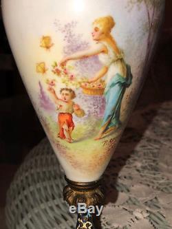Sevres Styled Porcelain Vase Urn Hand-Painted Figural Scene Signed Champleve 11