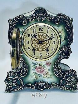 Stunning Antique Waterbury Hand Painted Porcelain Mantle Clock Parlor #91 & Key