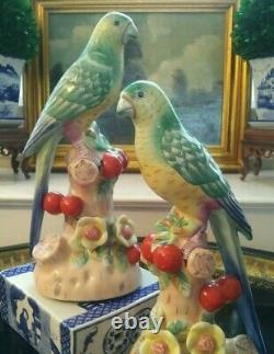 Stunning Pair Chelsea House Mantle Parrot Bird British Colonial Style
