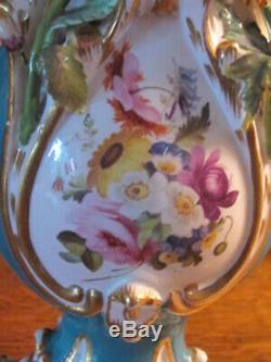 Stunning Pair Coalbrookdale Coalport Encrusted Handpainted Porcelain Vases c1820