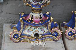Top Antique French 19thc Vieux paris porcelain Vases hand paint attr jacob petit