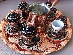 Turkish Coffee Set 6 Hand Painted Cups, Copper Cezve, Tray, Porcelain Insert