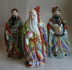 VINTAGE CHINESE EXPORT Hand Painted 3 STARS Immortals Porcelain Figures 1950-70
