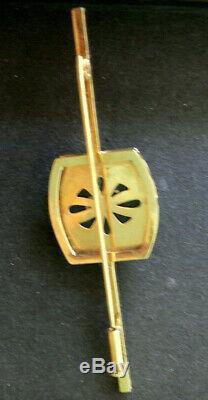 VINTAGE Japanese Arita Toshikane PORCELAIN Goddess of LOVE 10K Gold PIN 1930-40