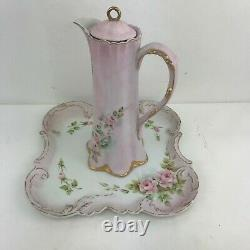 Victorian Chocolate Pot 16 piece set with tray Hand Painted Pink withPink Roses