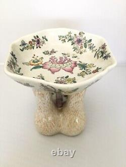 Vintage 1900s Asian Chinese Monkey Hand Painted Holding Bowl Decorate Dish